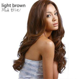 Brazilian Hair African Ameri Long Lt/Med Brown NWT